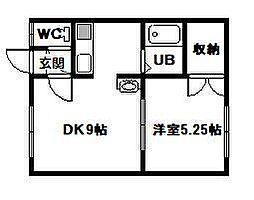 ドリームハイツ友光2号館 1階1DKの間取り