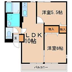 神奈川県茅ヶ崎市萩園の賃貸アパートの間取り