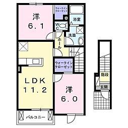 JR津山線 玉柏駅 徒歩34分の賃貸アパート 2階2LDKの間取り