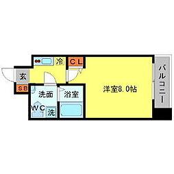 Osaka Metro堺筋線 北浜駅 徒歩5分の賃貸マンション 13階1Kの間取り