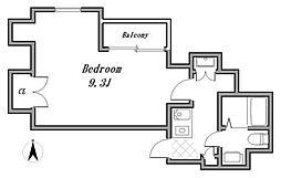 西武新宿線 東伏見駅 徒歩12分の賃貸マンション 5階1Kの間取り