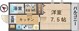 東京都中野区上高田4丁目の賃貸アパートの間取り
