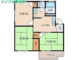 三重県桑名市松ノ木6丁目の賃貸アパートの間取り