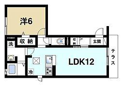 コーポ大安寺III 1階1LDKの間取り