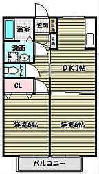 パラシオ北野田[1階]の間取り