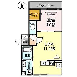 大阪府茨木市竹橋町の賃貸アパートの間取り