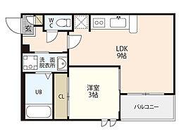 JR山陽本線 横川駅 徒歩15分の賃貸アパート 1階1LDKの間取り