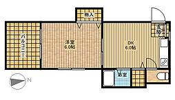 カーサ新城[1階]の間取り
