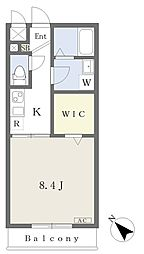 グレンディール 3階1Kの間取り