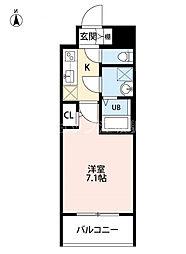 S-RESIDENCE新大阪Luna 9階1Kの間取り