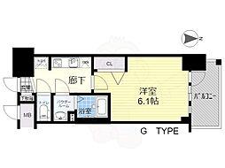 プレサンス新大阪ストリーム 6階1Kの間取り
