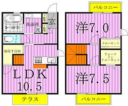 [テラスハウス] 千葉県松戸市和名ケ谷 の賃貸【/】の間取り