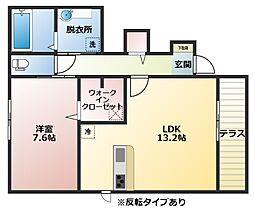 大阪府八尾市南木の本4丁目の賃貸アパートの間取り