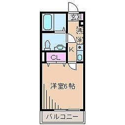 神奈川県横浜市神奈川区白幡上町の賃貸アパートの間取り