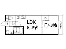 近鉄京都線 伏見駅 徒歩3分の賃貸マンション 2階1LDKの間取り