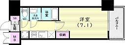 プレサンス兵庫ヴィアーレ 5階1Kの間取り