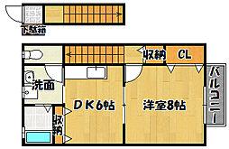 兵庫県神戸市西区玉津町二ツ屋の賃貸アパートの間取り