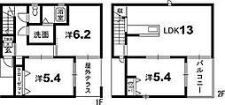 [一戸建] 徳島県徳島市庄町2丁目 の賃貸【徳島県 / 徳島市】の間取り