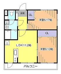 東京都東久留米市南町3丁目の賃貸マンションの間取り
