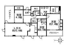 Osaka Metro谷町線 大日駅 徒歩4分の賃貸マンション 21階3LDKの間取り