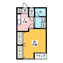タウンフラットI[1階]の間取り
