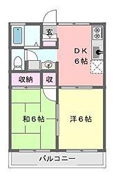グランディール織戸[2階]の間取り