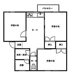 三条鹿島コーポ[2-B号室]の間取り
