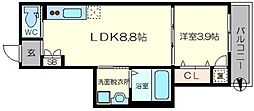 DOAHN加島 2階1LDKの間取り