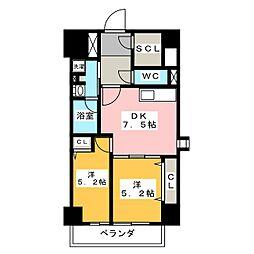パークアクシス新栄 7階2DKの間取り