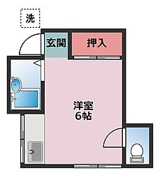 神奈川県横浜市鶴見区下末吉2丁目の賃貸アパートの間取り