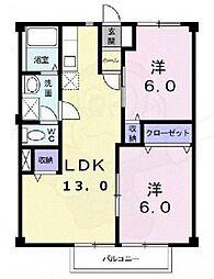 近鉄南大阪線 河内松原駅 徒歩10分の賃貸アパート 2階3DKの間取り