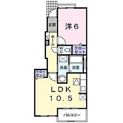 東京都武蔵村山市神明1丁目の賃貸アパートの間取り