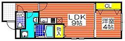 大阪府堺市堺区北旅籠町東1丁の賃貸アパートの間取り