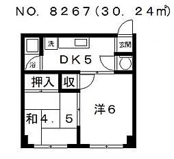 高津マンション[2B号室号室]の間取り