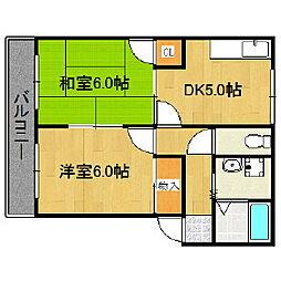 福岡県久留米市野中町の賃貸アパートの間取り