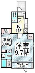 長野県長野市三輪7丁目の賃貸アパートの間取り
