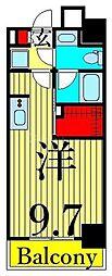 JR山手線 日暮里駅 徒歩11分の賃貸マンション 3階ワンルームの間取り