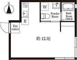 プリンセスライン高井戸 1階ワンルームの間取り