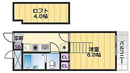 レオパレス花水木二番館 1階1Kの間取り