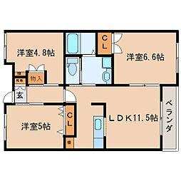 JR東海道本線 静岡駅 バス25分 井庄下車 徒歩3分の賃貸マンション 4階3LDKの間取り
