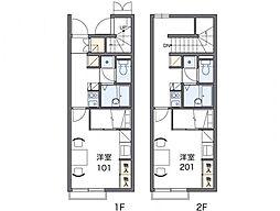 レオパレスグリーンフィールド2[2階]の間取り