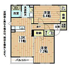 福岡県北九州市八幡東区槻田1丁目の賃貸アパートの間取り