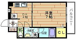 スプリング・ウエスト[7階]の間取り