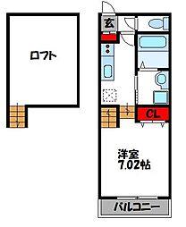 JR鹿児島本線 古賀駅 徒歩13分の賃貸アパート 1階1Kの間取り