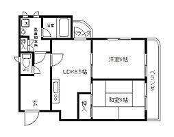 Osaka Metro谷町線 大日駅 徒歩4分の賃貸マンション 3階2LDKの間取り