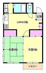 東京都八王子市元本郷町2丁目の賃貸マンションの間取り