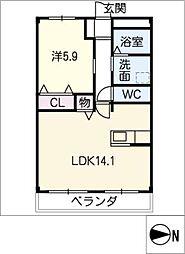 仮)北島マンション 1階1LDKの間取り