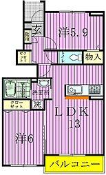 千葉県柏市大井の賃貸アパートの間取り