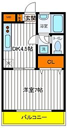 東京都国分寺市富士本1丁目の賃貸マンションの間取り