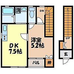 アイハウス栄田B[201号室]の間取り